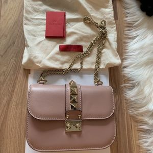 Authentic Valentino Glam Lock small Leather bag